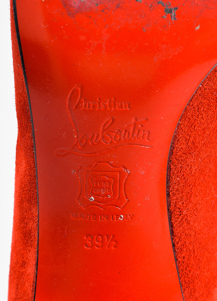 "Christian Louboutin Red Suede Zip Back ""Miss Tack 70"" Heel Boots Brand"