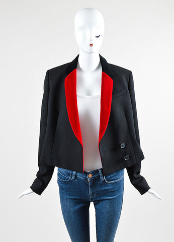 Black and Red Christopher Kane Wool and Velvet Long Sleeve Blazer Jacket Frontview