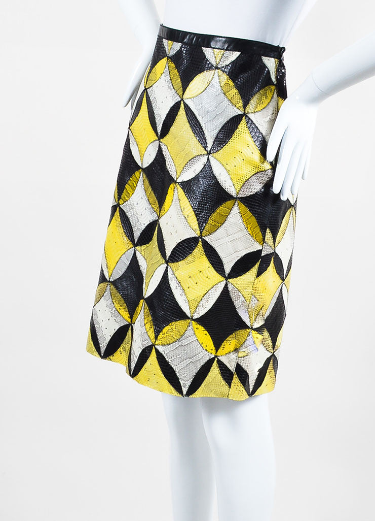Yellow, White, and Black Derek Lam Seasnake Leather Pencil Skirt Sideview