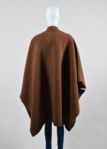 """Vicuna"" Brown Derek Lam Wool and Silk Oversized Cape Backview"