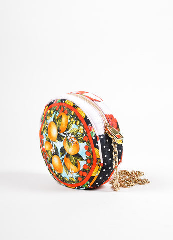 "Dolce & Gabbana Pink, Red, and Green Floral and Fruit Round ""Glam"" Crossbody Bag Sideview"