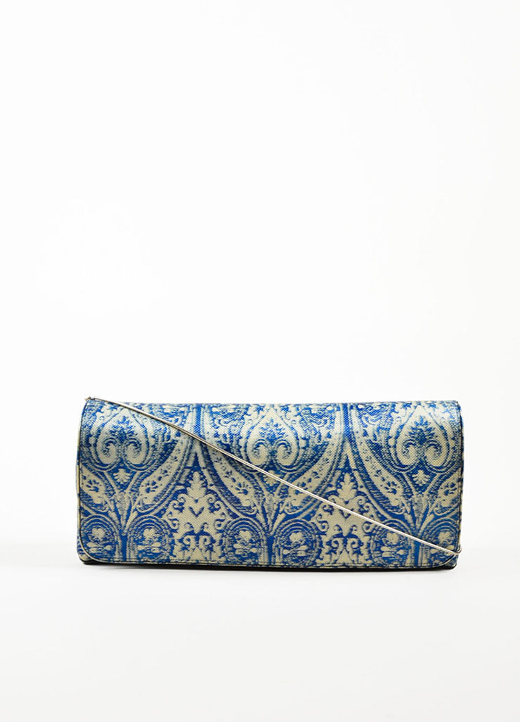 Dries Van Noten Blue and Grey Leather Textured Printed East West Flap Shoulder Bag Frontview