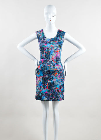 Erdem Blue and Pink Cotton Blend Watercolor Print Sheath Dress Frontview
