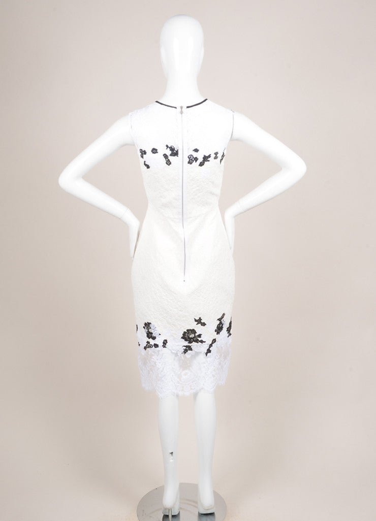 "Erdem New With Tags White and Black Floral Lace Matelasse Sleeveless ""Kent"" Dress Backview"