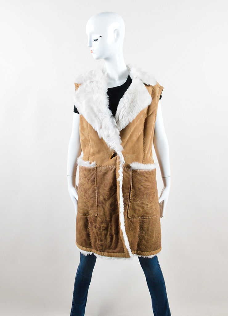 Escada Sport Brown and Cream Lambskin Shearling Long Vest Frontview 2