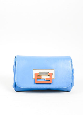 Blue Fendi Leather Convertible Crossbody Clutch Clasp Closure Baguette Bag Frontview