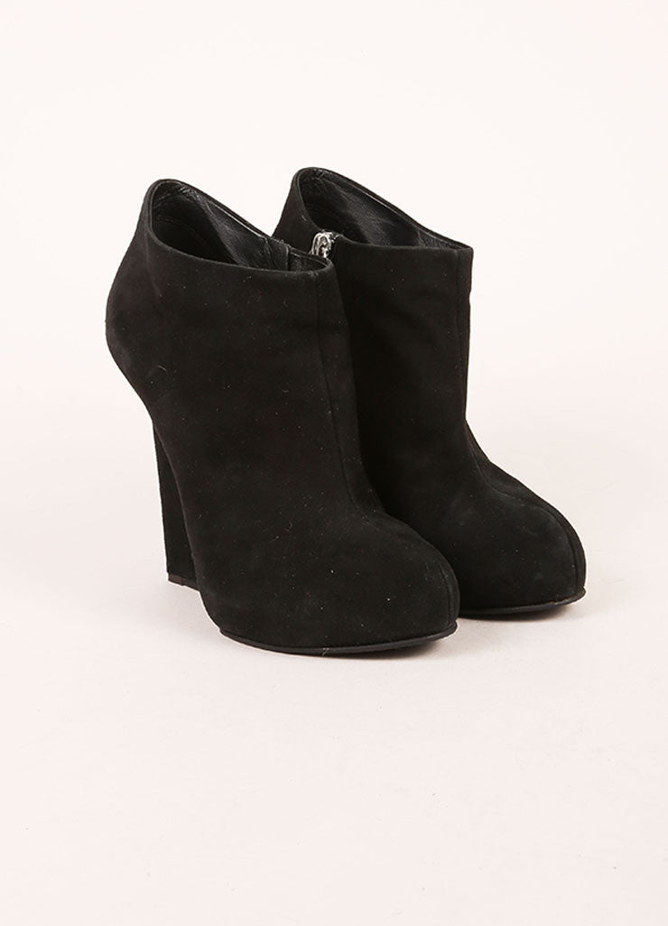 Giuseppe Zanotti Black Suede Silver Wedge Booties Frontview