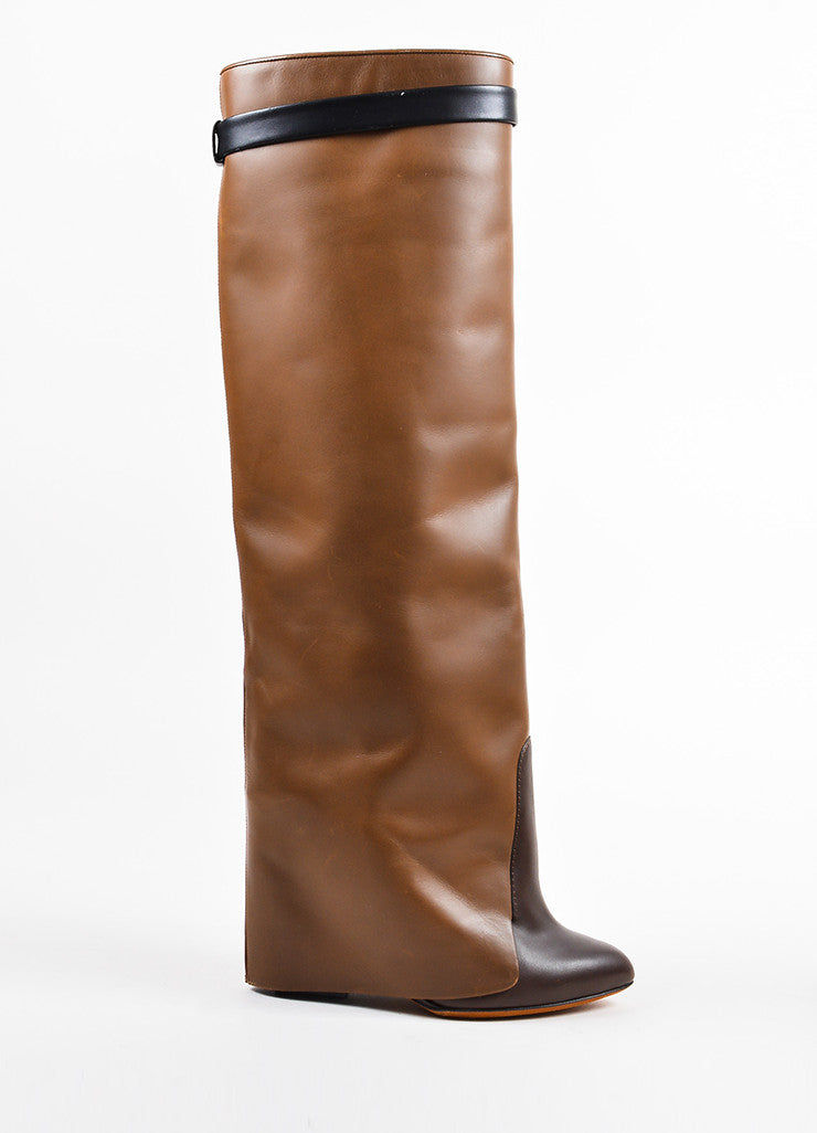 "Givenchy Brown and Black Leather Fold Over Tall ""Shark Tooth"" Wedge Boots"