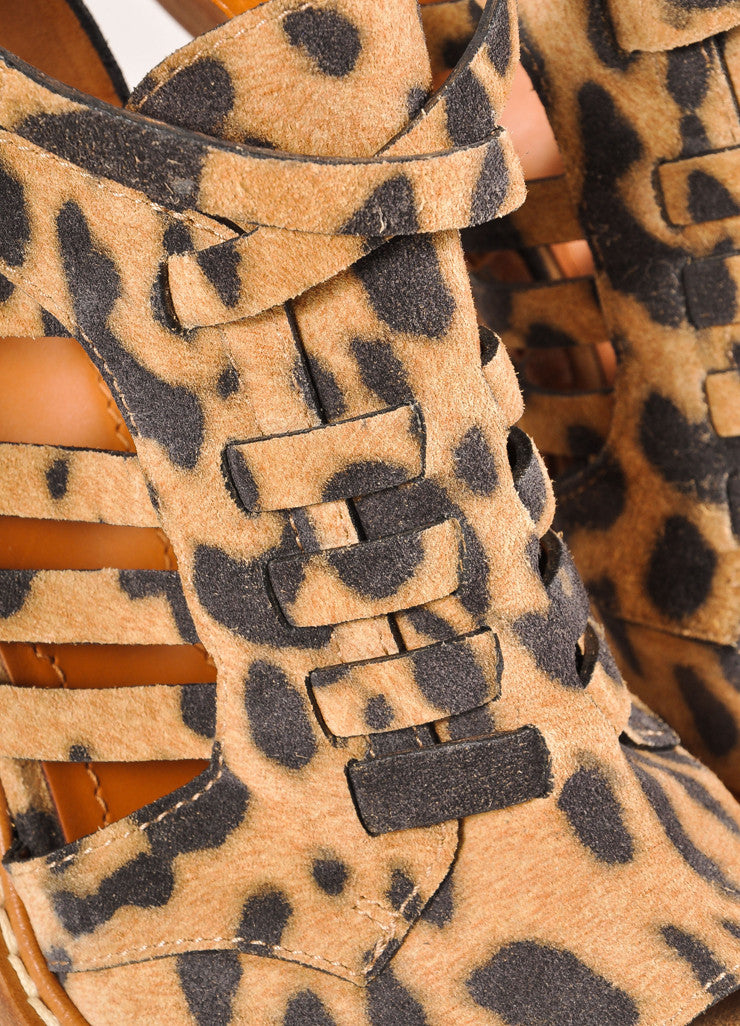 Givenchy Leopard Print Suede Strappy Cage Peep Toe Heels Detail