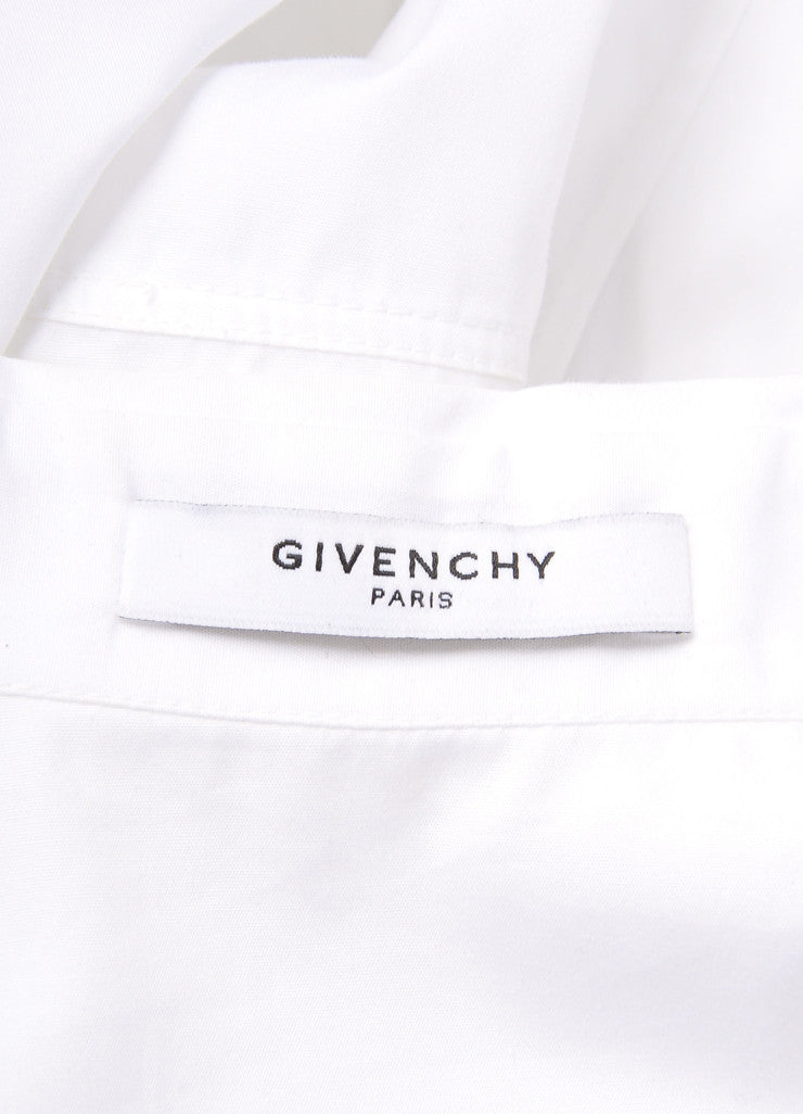 Givenchy White Flared Button Up Collared Cotton Batwing Blouse Brand