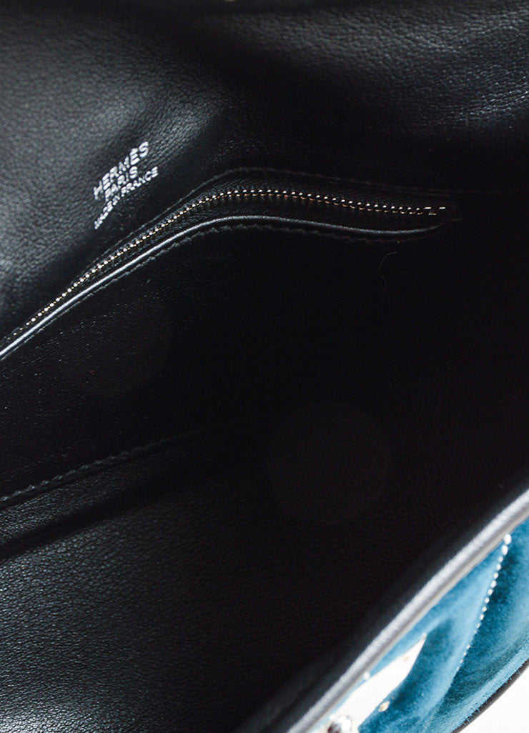 "Hermes RARE Black Teal Calfskin Suede Leather ""Mini Berline"" Bag Detail 5"