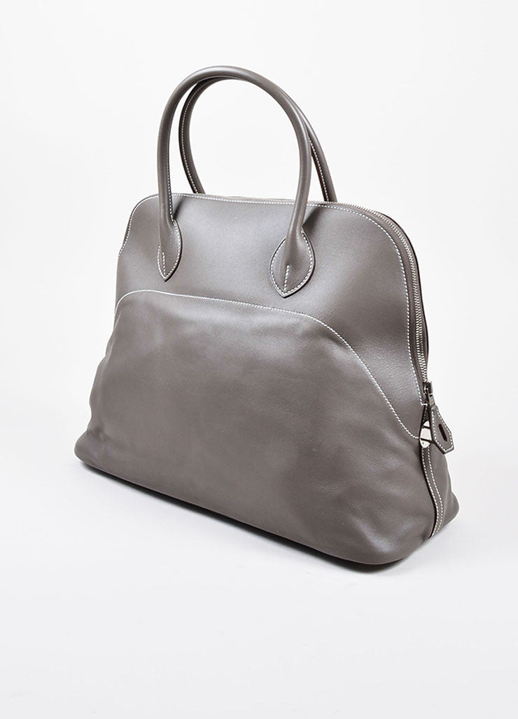 "Hermes 'Vert de Gris' Grey Barenia Leather ""Relax Bolide"" 40cm Tote Bag Sideview"