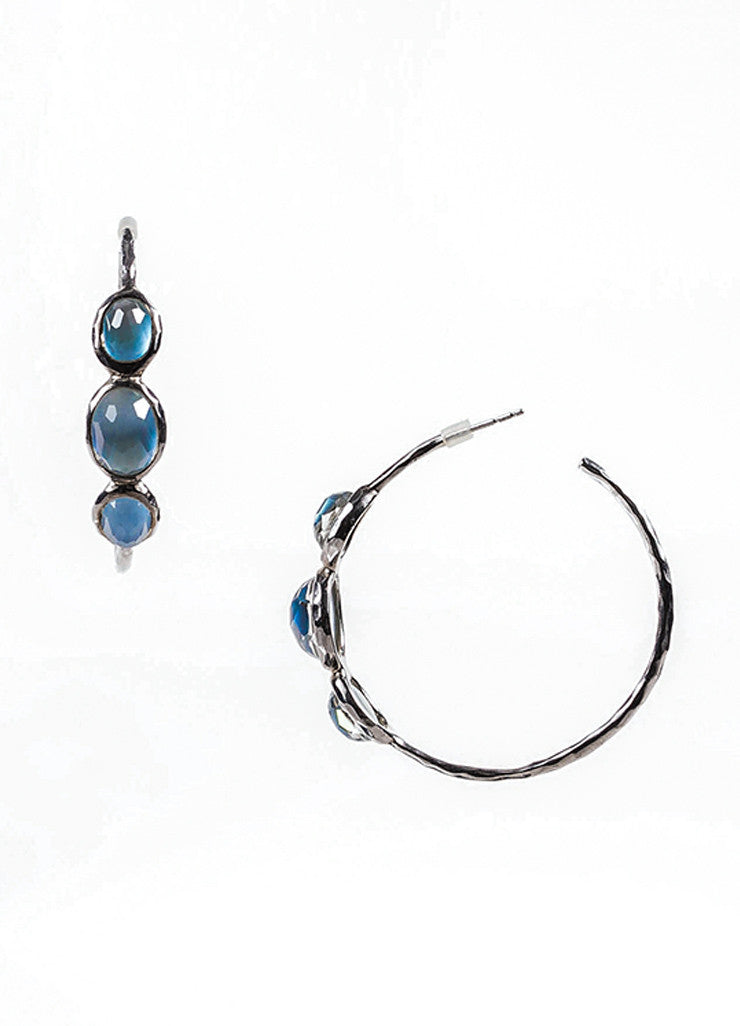 "Ippolita Sterling Silver, Blue Mother Of Pearl, and Quartz ""Rock Candy"" Hoop Earrings Sideview"