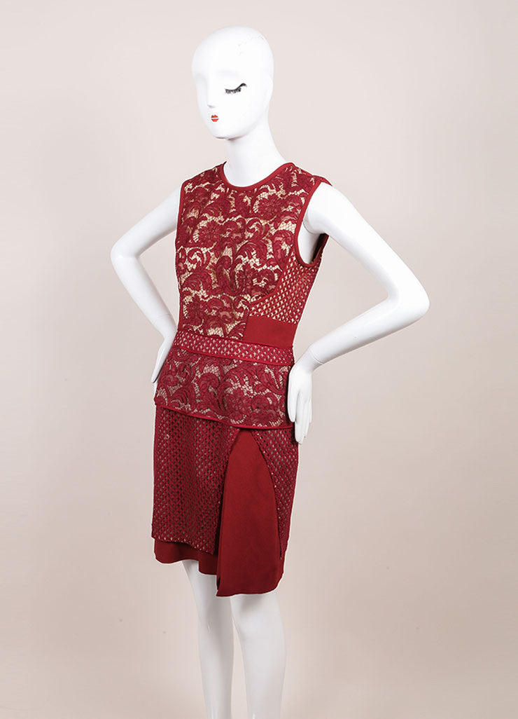 J. Mendel New With Tags Red Jasper Mixed Lace and Textured Crepe Sheath Dress Sideview