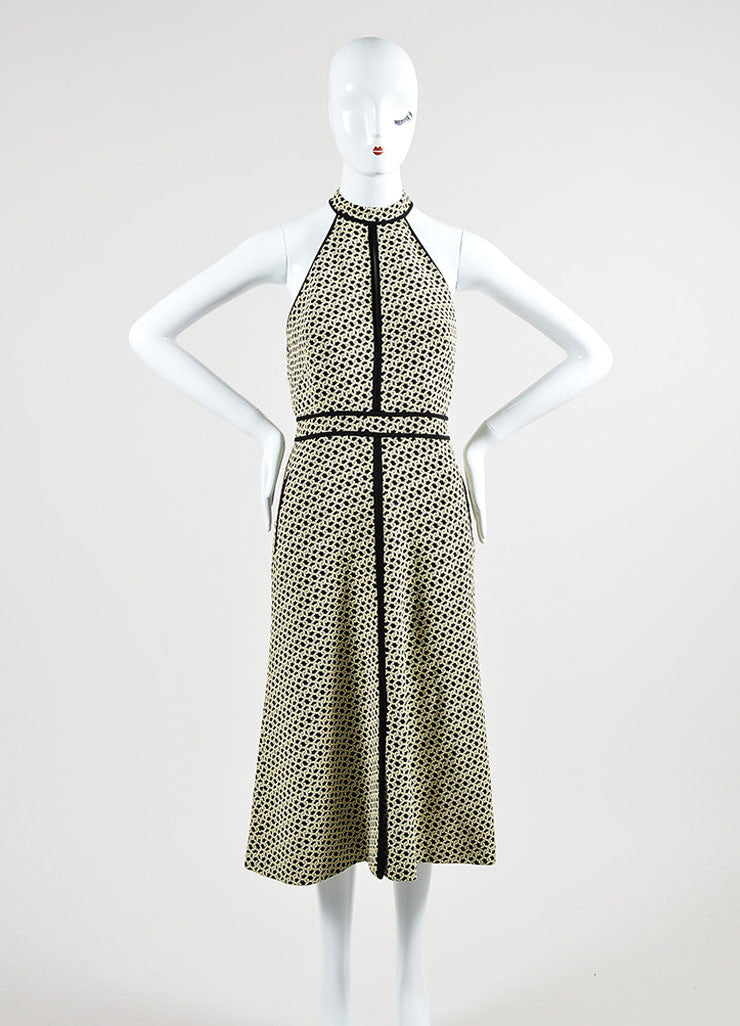 Cream and Black J. Mendel Knot Jacquard Halter Dress with Scarf Frontview 2
