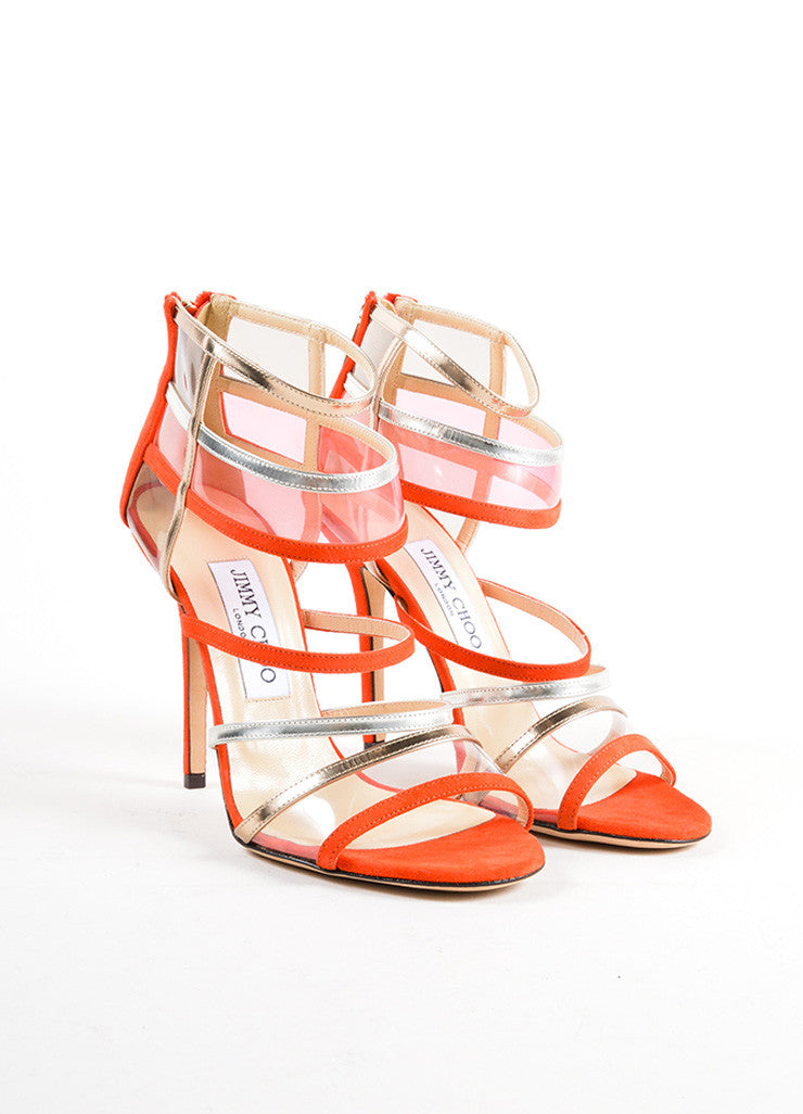"Jimmy Choo Red and Silver Suede Leather Strappy ""Maitai"" Sandals Frontview"