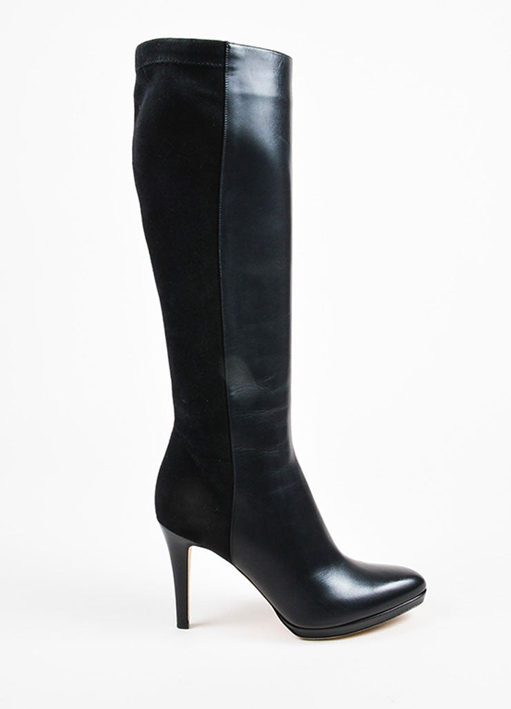 "Jimmy Choo Black Suede Leather ""Allegra"" Knee High Heel Boots Sideview"
