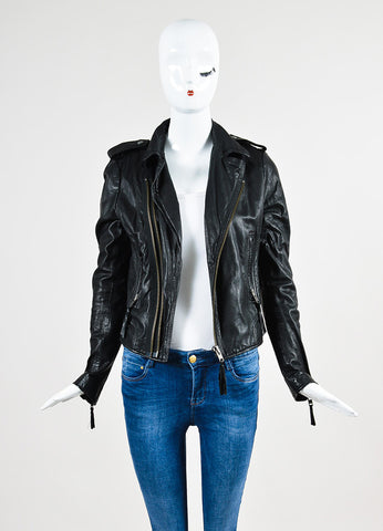 Joie Black Leather Moto Jacket Frontview