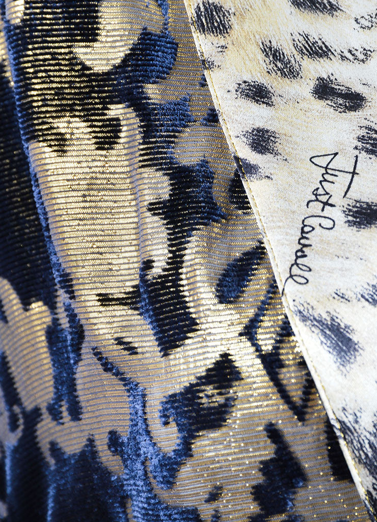 Just Cavalli Navy Blue and Gold Cheetah Print Tunic Detail