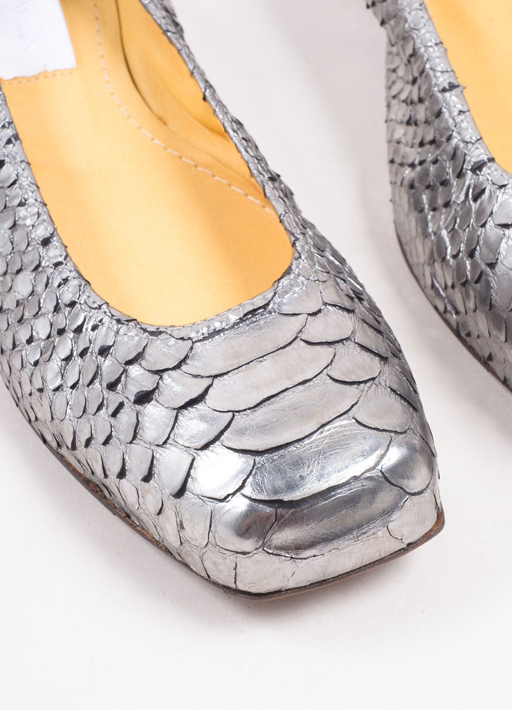 Lanvin Silver Python Leather Metallic Padded Ballerina Flats Detail