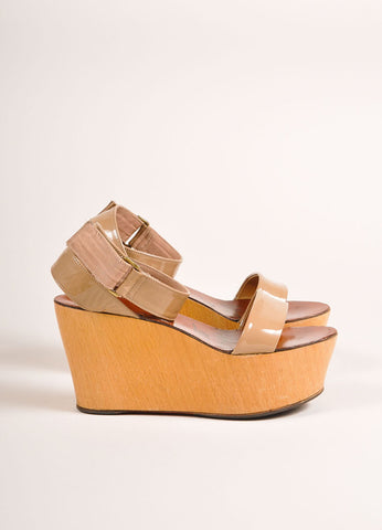 Lanvin Beige Patent Leather Wooden Platform Wedge Sandals Sideview