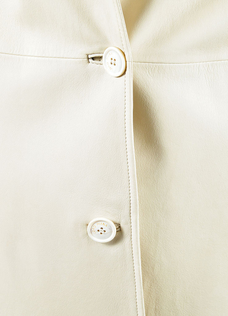 Loro Piana Cream Leather Button Up Trench Coat Detail