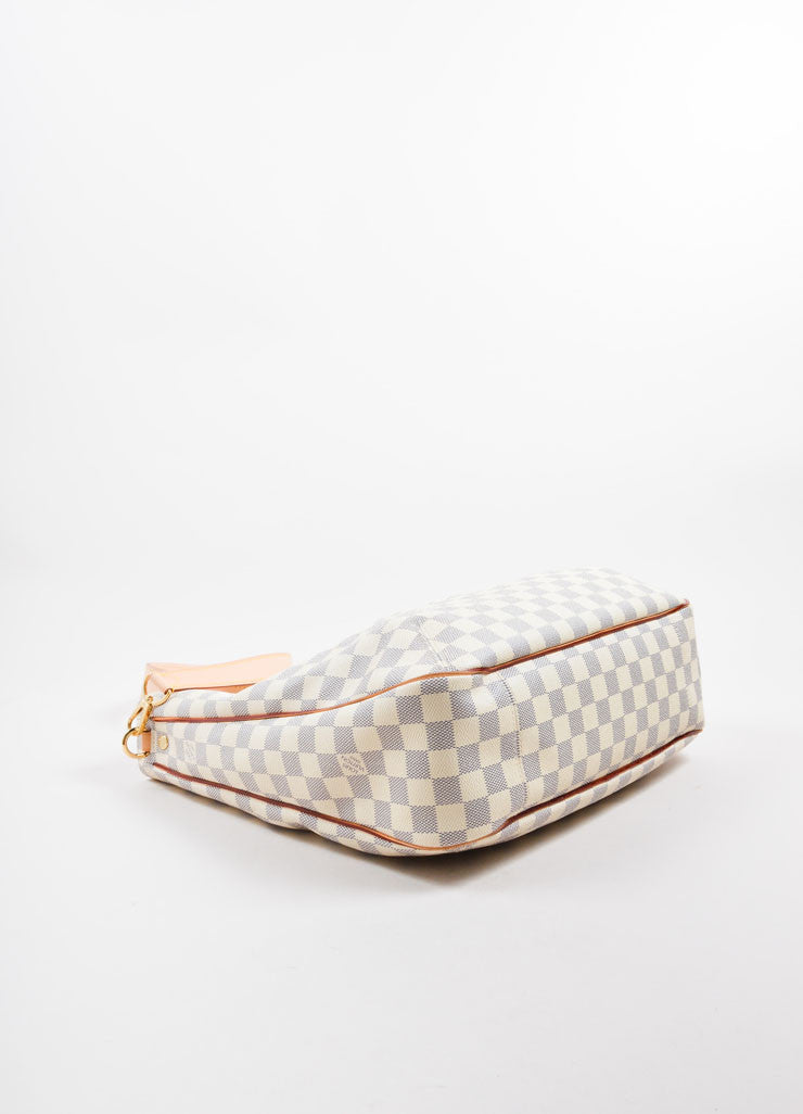 "Louis Vuitton Cream and Blue Coated Canvas Checkered ""Damier Azur Soffi""  Bag Bottom View"