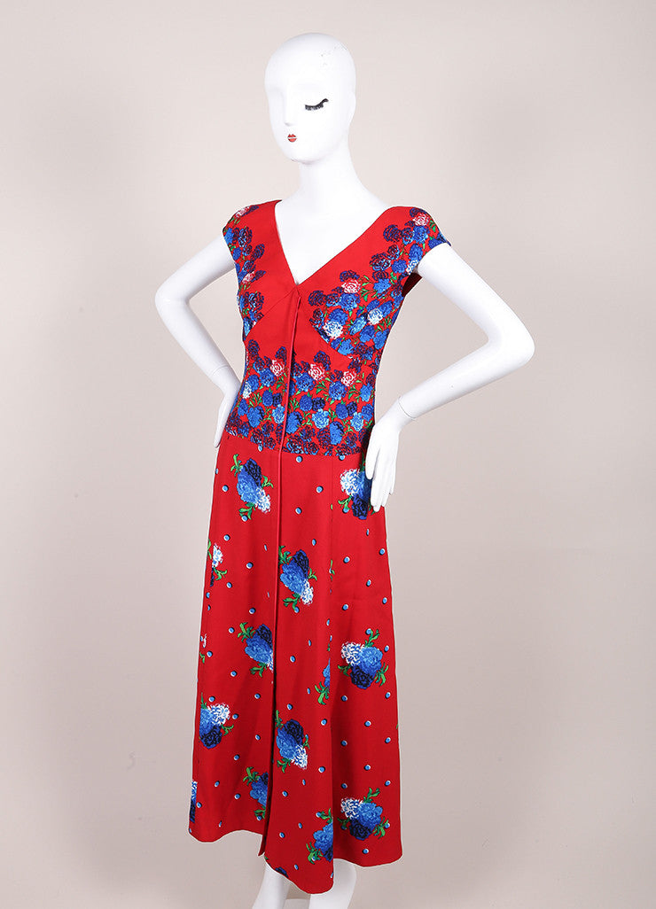 Marc Jacobs New With Tags Red and Blue Floral Print Cap Sleeve Open Back Dress Sideview