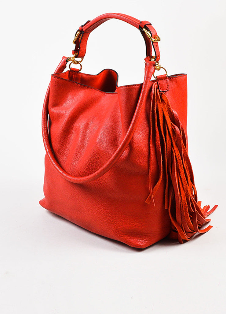 Marni Red and Gold Toned Grained Leather and Suede Fringe Hobo Bag with Pouch Sideview