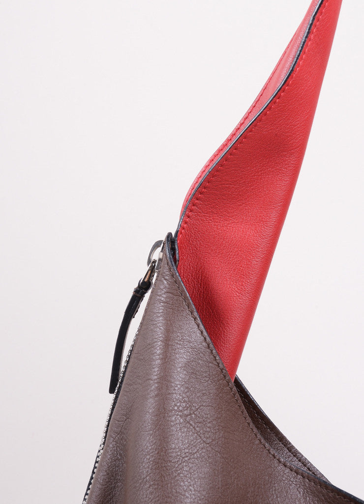 Marni Brown and Red Leather Expandable Zipper Hobo Shoulder Bag Detail 2