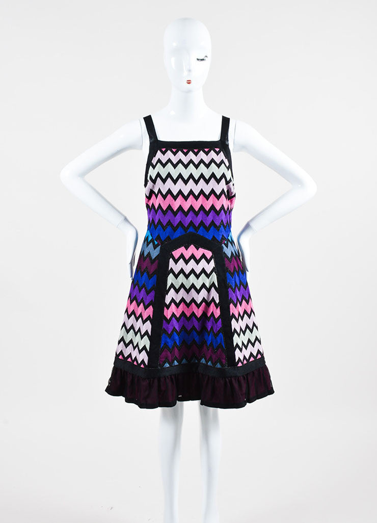 Multicolor Missoni Knit Zig Zag Pattern Mesh Back Sleeveless Dress Frontview