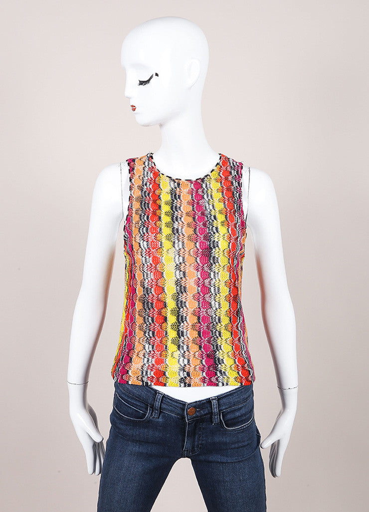 Missoni Multicolor Linen Blend Knit Sleeveless Top  Frontview