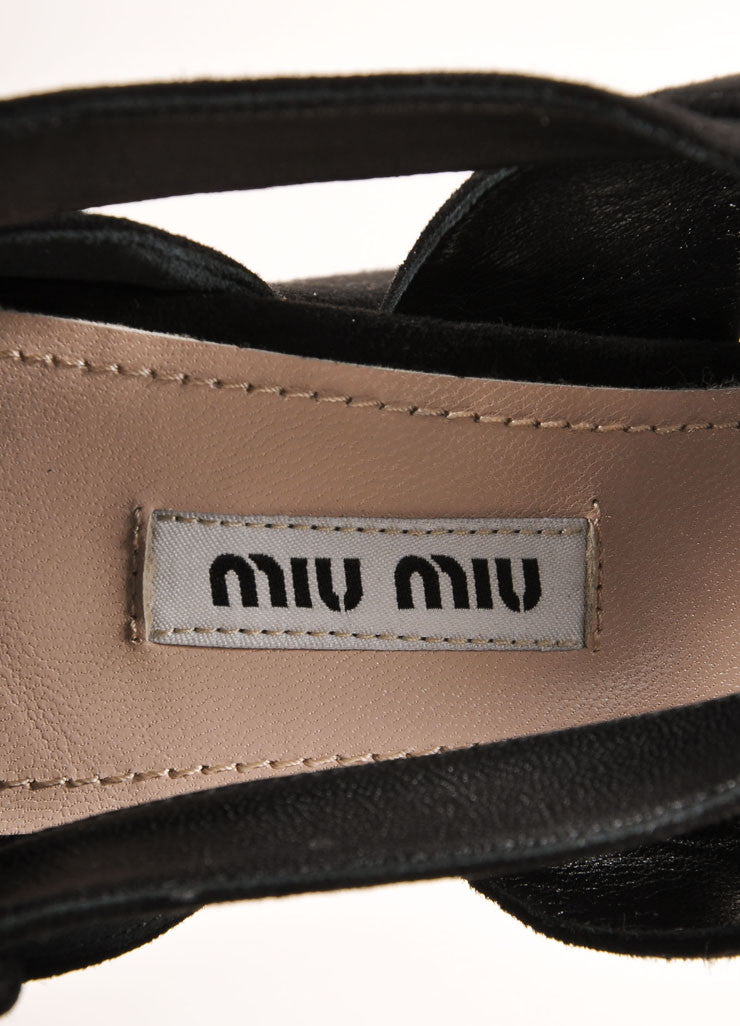 "Miu Miu New In Box Black Suede Platform Jewel Embellished ""Cam"" Platform Sandals Brand"
