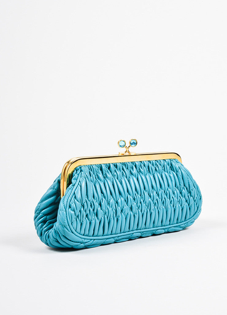 Miu Miu Teal Blue Matelasse Leather Textured Quilted Rhinestone Clutch Bag Sideview