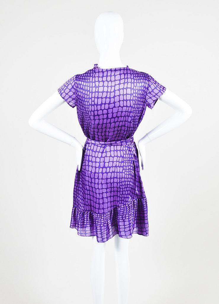 Moschino Cheap and Chic Purple Silk Reptile Print Ruffle Dress Backview