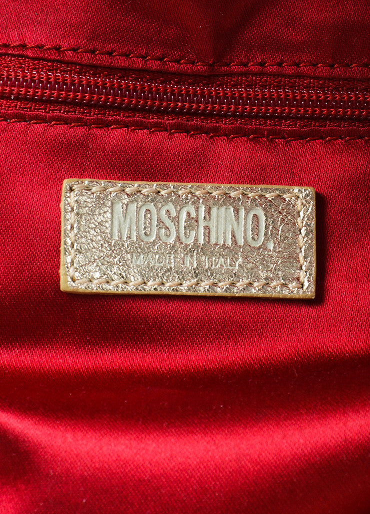 Moschino Gold Metallic Leather and Multicolor Tweed Small Satchel Bag Brand