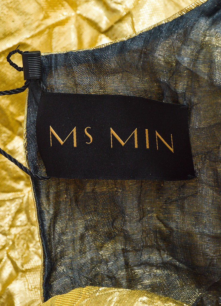 Ms Min Metallic Gold Silk Blend Polka Dot Crinkled Sleeveless Belted Dress Brand