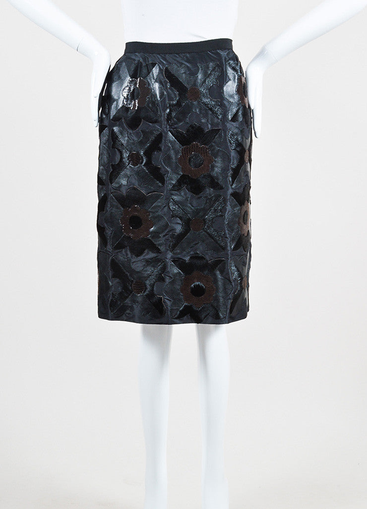 Black and Brown Oscar de la Renta Silk, Leather, and Ponyhair Floral Skirt Frontview