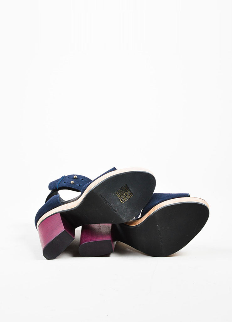 Navy Blue and Maroon Pierre Hardy Suede Leather Wood Sandals Outsoles