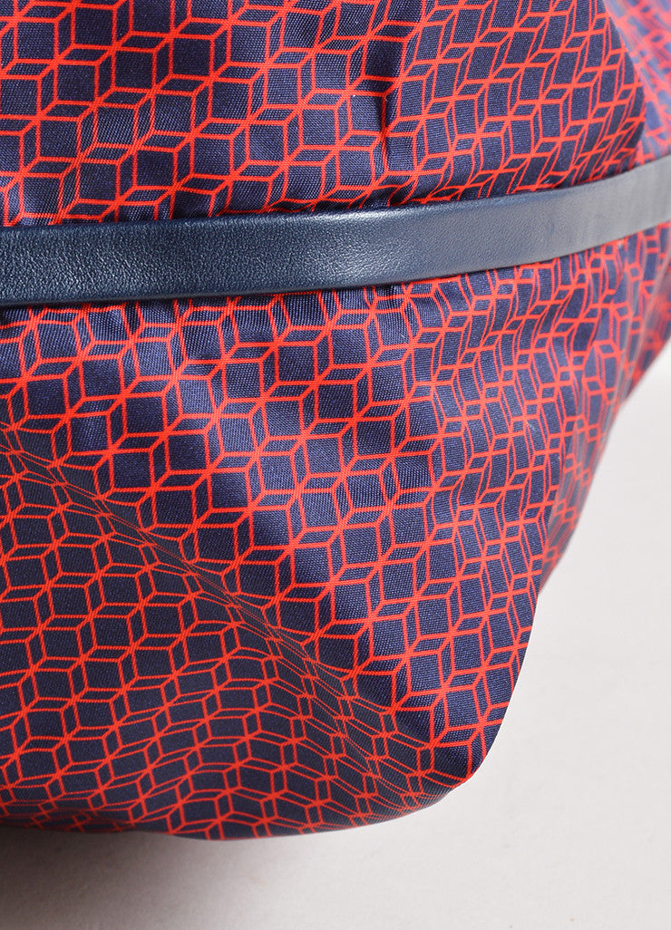 Pierre Hardy Red and Navy Nylon and Leather Cube Print Weekended Tote Bag Detail