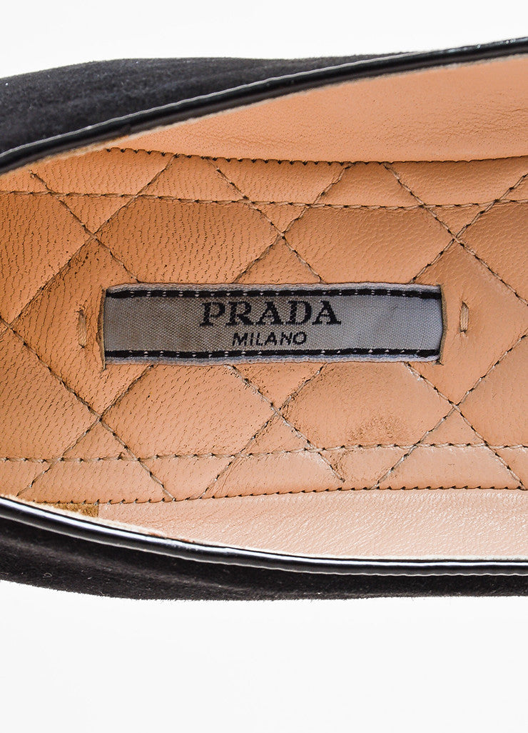 Prada Black Suede Leather Fur Crystal Embellished Loafer Flats Brand