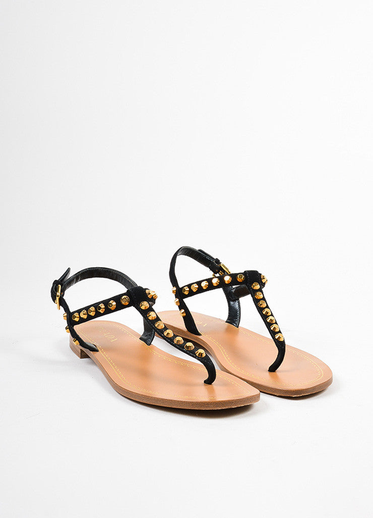 Black and Gold Prada Suede Leather Studded Embellished Flat Thong Sandals Frontview