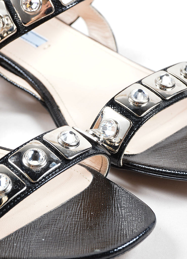 Prada Black Saffiano Leather Metal Jeweled Low Heel Sandals Detail