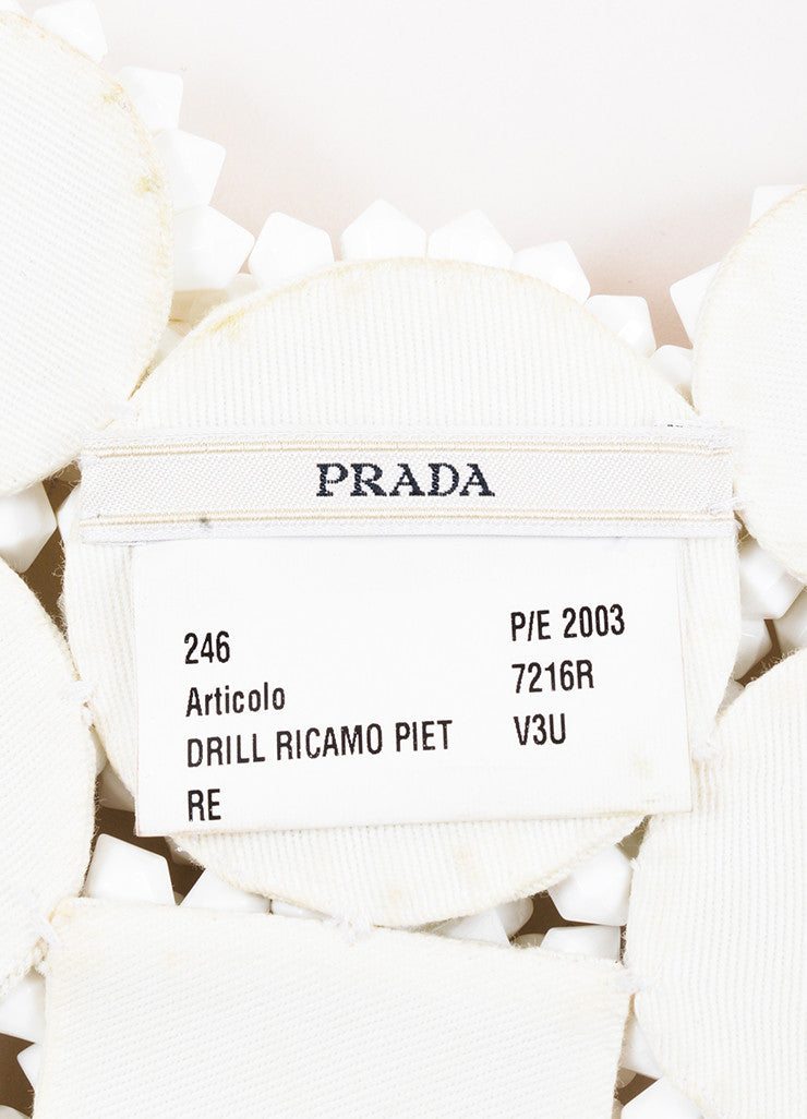 Prada White Acrylic Spiked Bead Bib Necklace Brand