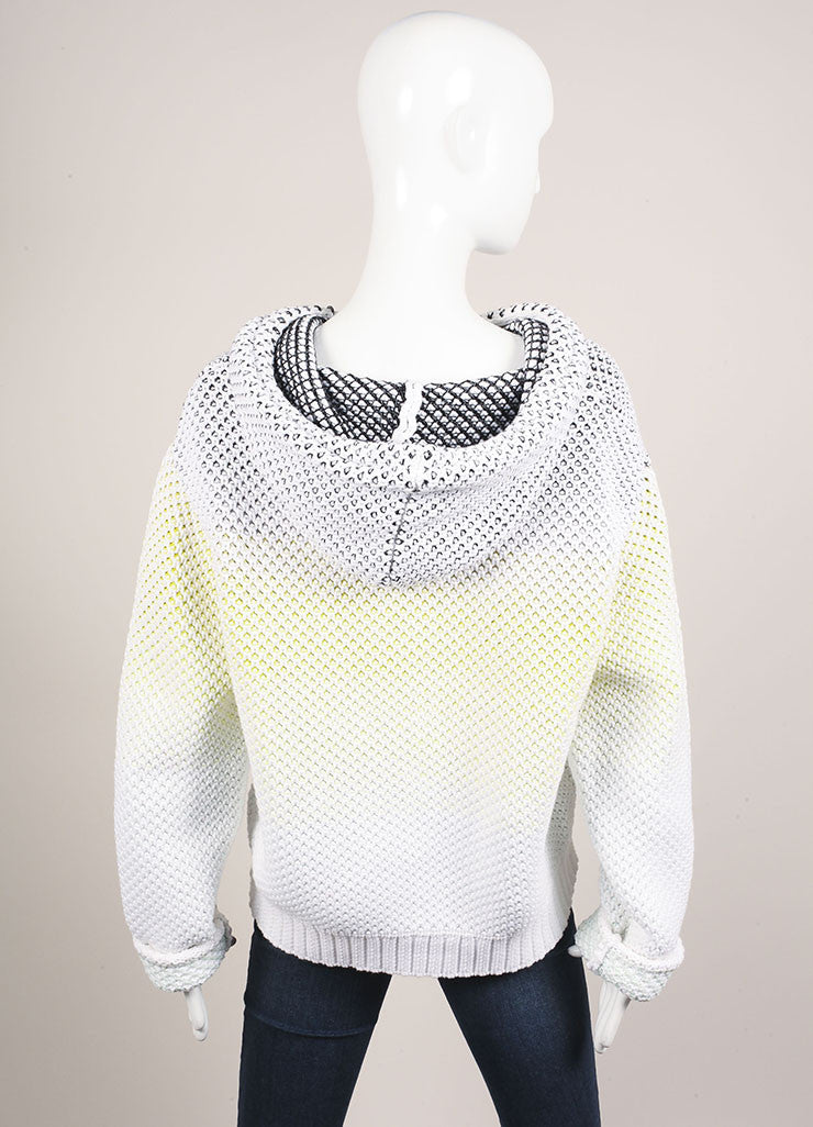 Proenza Schouler White and Neon Cotton Chunky Knit Pull Over Hooded Sweater Backview