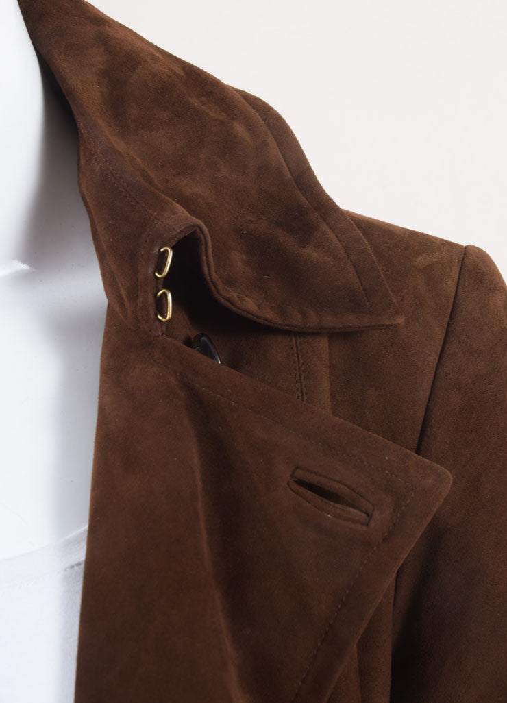 Ralph Lauren Collection Brown Suede Leather Long Sleeve Jacket Detail