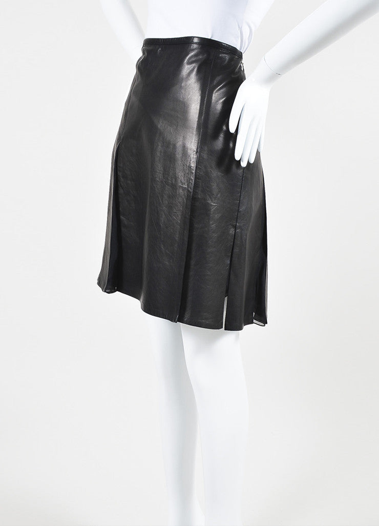 Reed Krakoff Black Leather Chiffon Pleated Side Slit Skirt Front