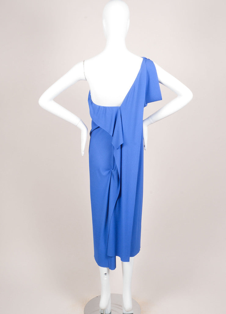 Roland Mouret Blue Periwinkle Jersey One Shoulder Dress Backview
