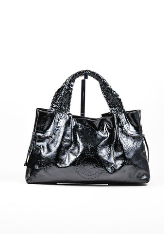Black Salvatore Ferragamo Patent Leather Woven Tote Bag Front