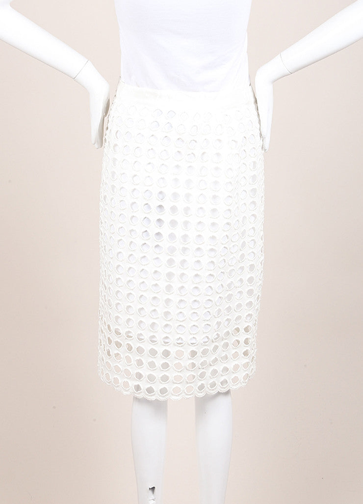 Sea New With Tags White Woven Knit Eyelet Overlay Pencil Skirt Backview